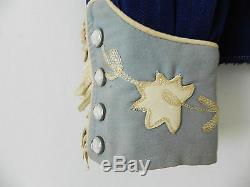 Vtg California Ranchwear Western Shirt Rare Leather Trim Navy Blue Size 34(S)