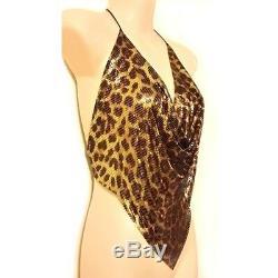 Whiting & Davis glomesh halter top. Rare Leopard design STUNNING Vintage 1970's