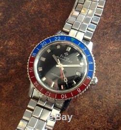 ZODIAC GMT Aerospace Vintage Watch & Bracelet Super RARE PEPSI Bezel. 1960's